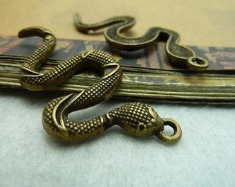 10pcs 25x55mm The Snake Antique Bronze Retro Pendant Charm For Jewelry Bracelet Necklace Charms Pendants C5655
