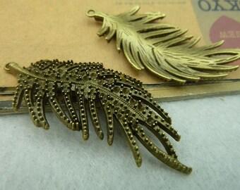 5pcs 26x55mm The  Leaves  Antique Bronze Retro Pendant Charm For Jewelry Bracelet Necklace Charms Pendants C3803