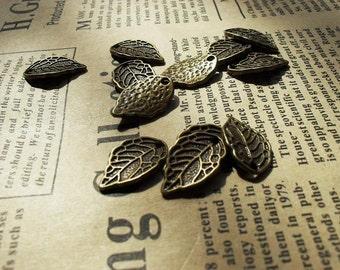 30pcs 10x16mm The Leaves Antique Bronze Retro Pendant Charm For Jewelry Bracelet Necklace Charms Pendants C156