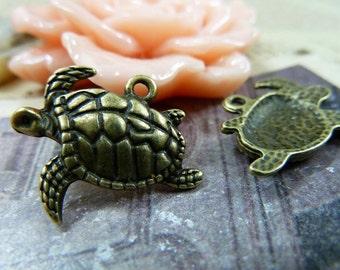 20pcs 18x21mm The Turtle Antique Bronze Retro Pendant Charm For Jewelry Bracelet Necklace Charms Pendants C1182