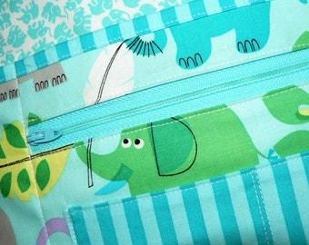 Lotsa Pockets Apron, Waitress- Vendor- Teacher Apron with Zipper Pocket - ELEPHANTS on aqua, made-to-order in 2 sizes