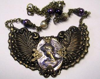 Victorian Art Nouveau Winged Purple Cameo Bib Necklace, 1930's Style Art Nouveau Cameo Necklace