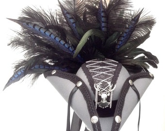 Steampunk pirate grey hat silver stag and corset