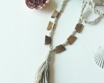Bristol. Brass Necklace. Vegan Cotton Cord.