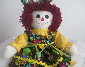 Handmade Happy Birthday  Raggedy Ann Doll