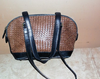 Vintage Black and Brown Woven Leather Hand Bag Purse by Talbots Adorable