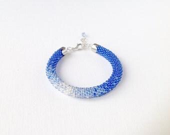 Bridesmaid bracelet, blue ombre bracelet, blue wedding, rope bracelet, blue white bracelet, women bracelet, bridesmaid gift, bead rope