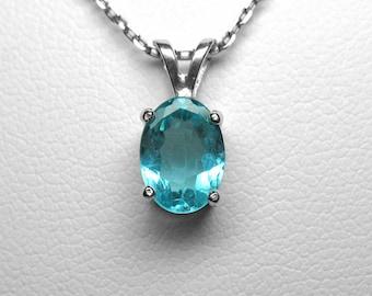 Blue Apatite Pendant in Silver, 8 x 6 mm
