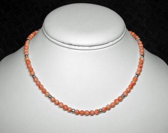 Coral Necklace, Mediterranean, Sterling