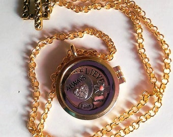 Locket Believe Always Faith Angel Crystal Heart Gold Copper Pendant Locket Necklace