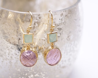"Golden Earrings  ""Happy Lilac"". Bridal Jewelry. Rose Earrings."