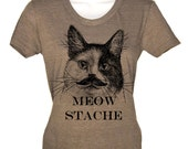Cute Cat Meow Stache Mustache Ladies Tshirt Kitty Kitten T Shirt Tee Mens Womens Funny Humor Gift Present I Love Cats Animal Lover Whiskers