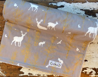 Baby Blanket - Timber Valley Deer Antlers in Fog Grey with Metallic Gold Trees - Baby Boy