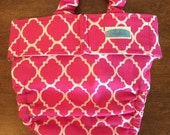 Pink/White Dog Diaper w/ Suspenders (no tail hole)