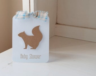 Squirrel Autumn Invitations Boy Baby Shower Birthday Party Fall Themed Blue and Brown Plaid Kraft