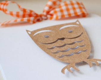 Owl Autumn Invitations Baby Shower Birthday Party Fall Themed Orange Gingham