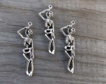 8 Silver Skeleton Charms 41mm Antiqued Silver