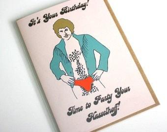 David Hasselhoff hairy chest birthday greeting card funny pop culture baywatch