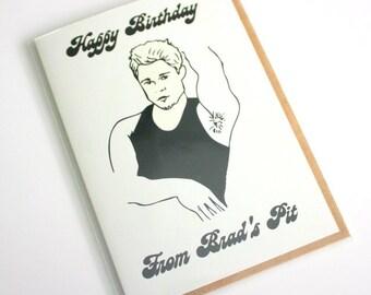 Funny Pop Culture Brad Pitt Happy Birthday greeting card