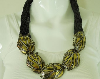 1970s Luisa Conti Couture Runway Black Glass Etruscan Necklace Statement Size