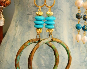 Upcycled Big Gypsy style hoops  earrings patina with real turquoise 9ct gold coated pyrite raw rock beads boho chic stunners