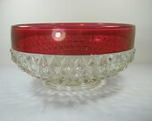 Vintage RUBY FLASH BOWL Diamond Point Punch Serving Indiana Pressed Glass