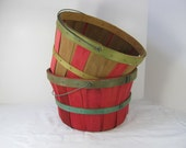 Vintage FARM BASKET Red & Green RUSTIC Patina Set/2 Perfect for Mums!