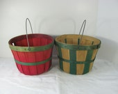 Vintage FARM BASKET Red & Green RUSTIC Patina Small Set/2 w/ Handle Perfect for Mums!