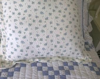 Cornflower Blue and Cream Pillow Sham