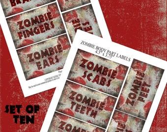Zombie Body Parts Labels - Set of Ten - Instant Digital Download