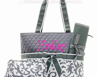 Personalized Gray Damask Diaper Bag 3 piece Set  -  Monogrammed FREE Baby Boy or Girl