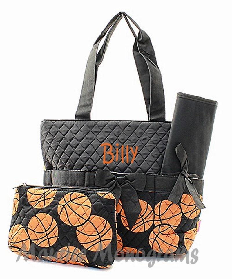 sale personalized sports basketball diaper bag set 3 piece. Black Bedroom Furniture Sets. Home Design Ideas