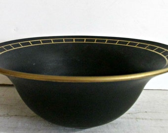 Art Deco, Decorative Black Bowl, Gold Accents and Trim, Deep Bowl, 1930, Serving, Home Decor