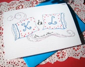 Personalized Anniversary Card - Romantic I Love You Card, Wedding Day Card - Monogram Pillows
