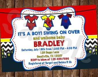 Spiderman Baby Shower Invitation (SM05)