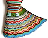 Crochet Coat in Multicolor Chevron Knee Length Wool / Acrylic Yarn / Crochet Granny Square / Autumn/Winter Vest / jacket/ cardigan Size Sl/M