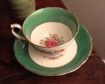 Antique Hammersley Bone China Teacup and Saucer Green with Pink Blue Florals