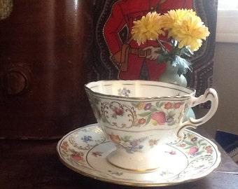 Antique Hammersley Bone China Teacup and Saucer Dresden Sprays Quatrefoil