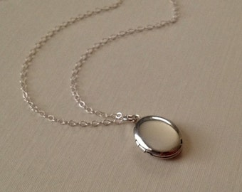 Silver Locket Necklace -Silver Oval Locket  -Plain Silver Oval Locket with Sterling Silver Chain