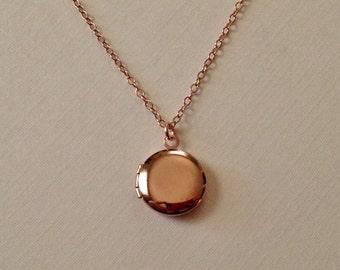 Tiny Rose Gold Locket -Round Rose Gold Locket -Plain Rose Gold Locket