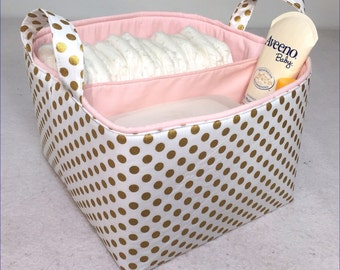 "Metallic Gold LG Diaper Caddy 10""x10""x7"" Fabric Storage Bin, Basket, Antique Gold Small Polka Dot on White with Light Pink L"