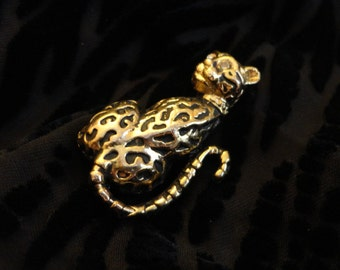 VINTAGE Leopard Brooch 1960s/70s - Gold tone sitting cat with black spots, clear rhinestone eyes, wearing a collar, Estate find, not signed