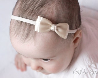Ivory Olivia Baby Bow Headband - Flower Girl Headband - Girls Headband - Ivory Olivia Satin Bow Handmade Headband - Baby to Adult Headband
