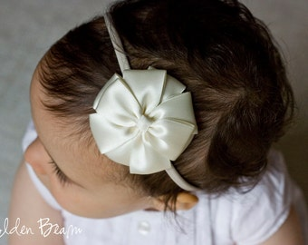 Ivory Flower Girl Headband - Ivory Kate Bow Handmade Headband - Baby to Adult Headband - Christening Headband