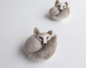 Sleepy little fennec fox no3, Felted Animal Pin, Fox Jewelry