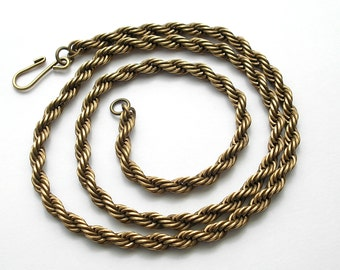 19 Inch Vintage Brass Rope Chain Necklace Chain