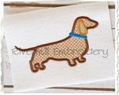 Applique Dachshund Silhouette With Collar Machine Embroidery Design - 4 Sizes