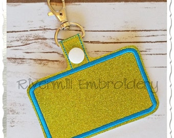 Blank Rectangle In The Hoop Snap Tab Key Fob Machine Embroidery Design