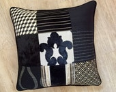 "BESPOKE multi square PATCHWORK DESIGN black cushion cover with beige gold tones 50cm / 20 "" accent cushion cover by MoGirl Designs."