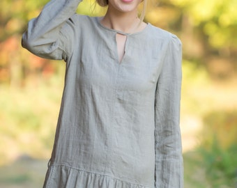 Pure Linen Longsleeve Dress